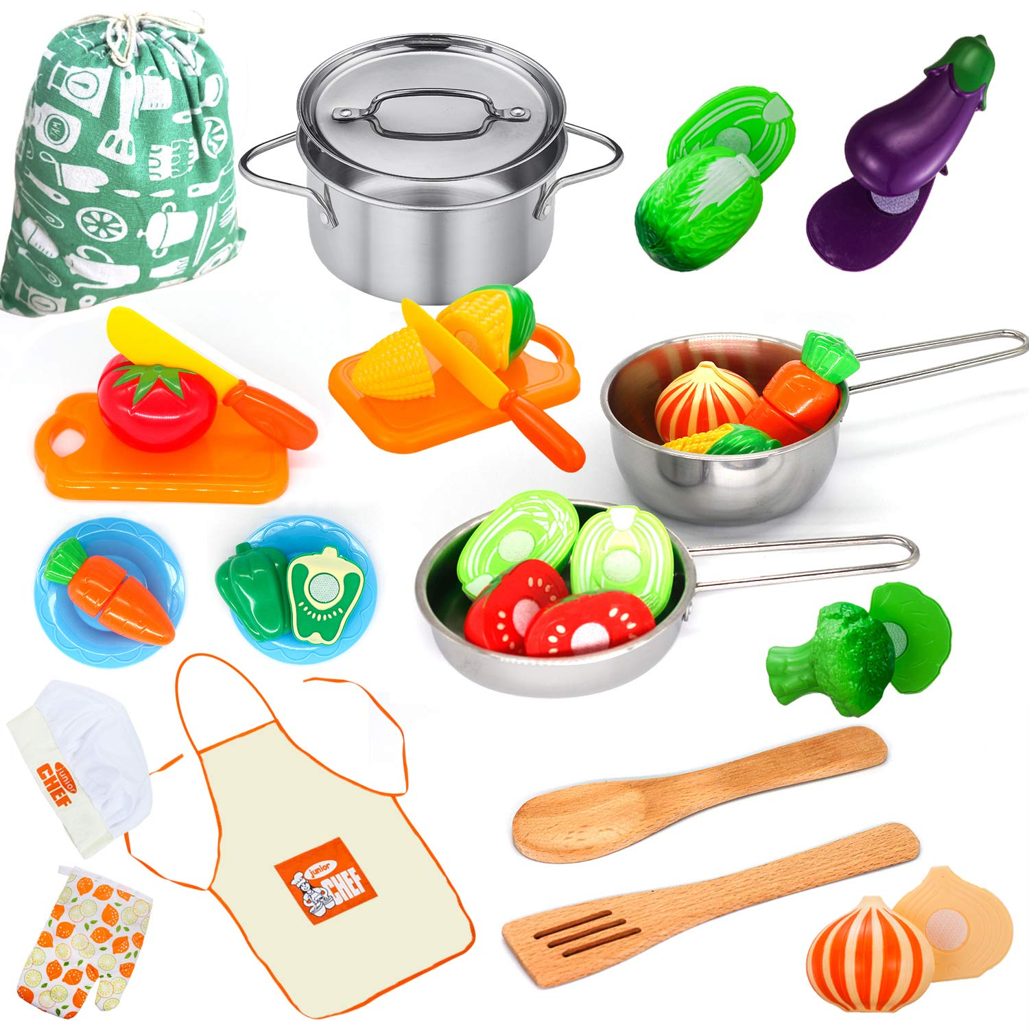 Kitchen Playset Accessories Toys - Stainless Steel Cookware Pots and Pans Set, Cooking Utensils, Apron, Chef Hat, and Cutting Play Food for Kids, Toddler and Boys Girls Educational Learning Tool by KRATO