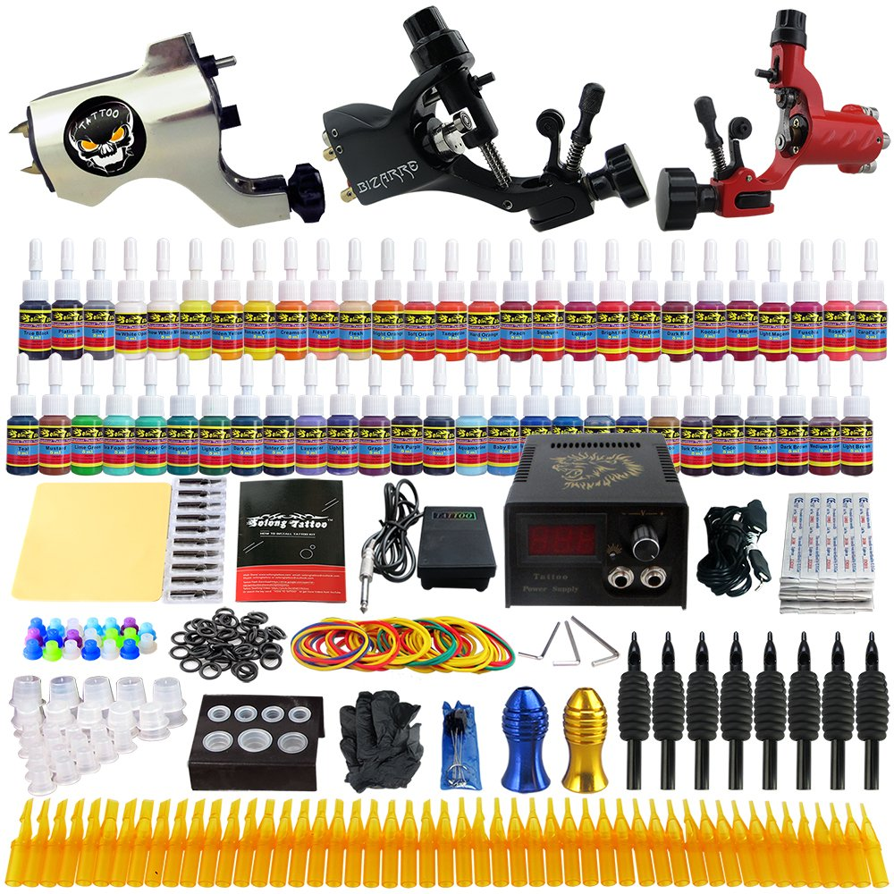 Solong Tattoo® Professional Complete Tattoo Kit 3 Machine Guns Liner Shader 54 Color Inks Power Supply Foot Pedal Grip Needles Tips TK355