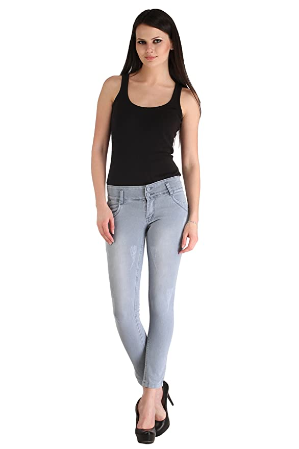 Cali Republic Lestal Women's Skinny Fit Patch Pocket Denim Jeans   Grey Women