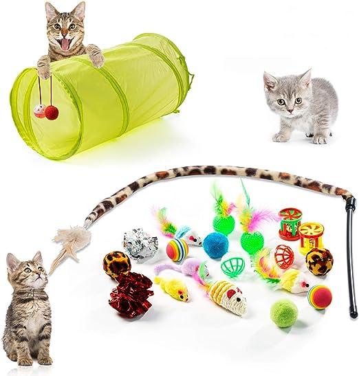 ZWOOS 21 Piezas Juguete Gato, Juguetes para Gatos Interactivos, Juguetes de Entrenamiento con Campanas y Catnip Ball y Plumas y Bolas Varias: Amazon.es: Productos para mascotas
