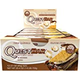 Amazon Price History for:Quest Nutrition Protein Bar, S,mores, 20g Protein, 4g Net Carbs, 180 Cals, Low Carb, Gluten Free, Soy Free, 2.12oz Bar, 12 Count