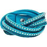 Bracelet Slake Wrap Strass brillant cristal double tour cuir de daim bleu ciel