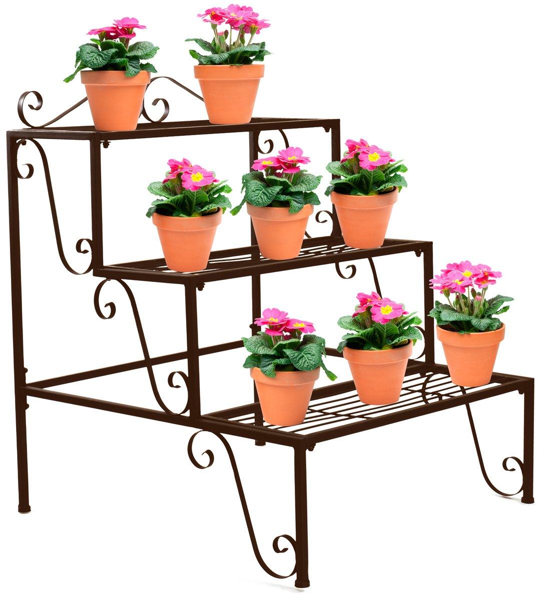 Sorbus 3-Tier Flower Plant Stand - Rectangular Shelf Step Design – Ideal Flower Pot Holder for Home, Garden, Patio, Plant Lovers, Housewarming, Mother's Day (3 Step (Bronze))