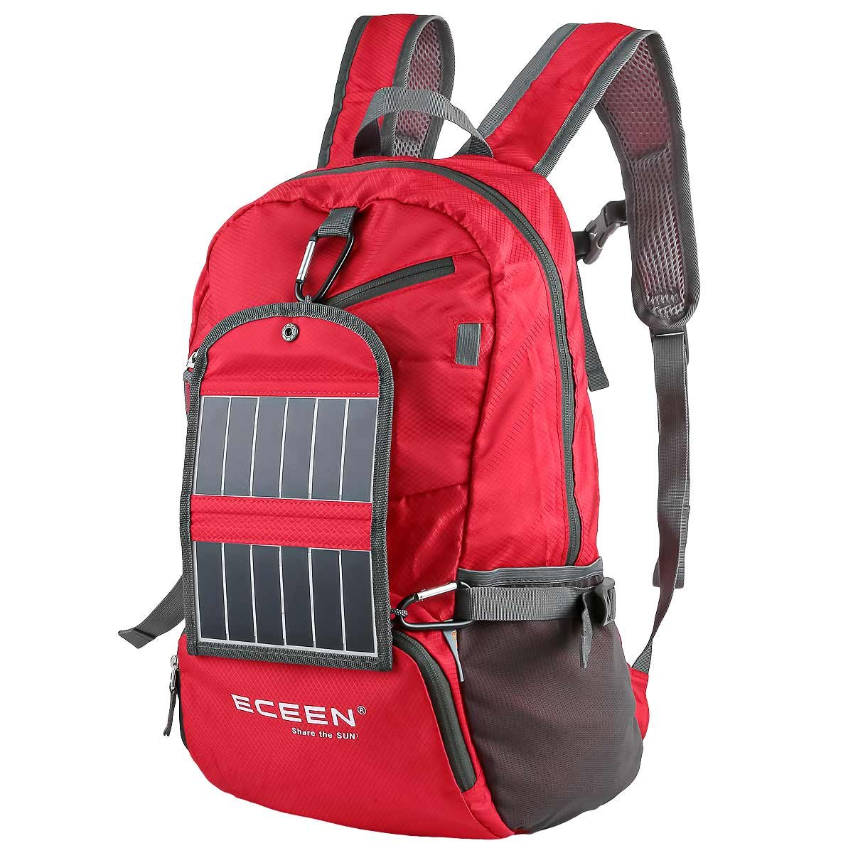 ECEEN® Solar Powered Hiking Daypacks with 3.25 Watts Solar Charger for Hiking, Travel, Backpacking, Biking, Camping - Folds Up into Carry Pouch – Power for Smart Cell Phones and More (Red) ECEEN Electronic Limited