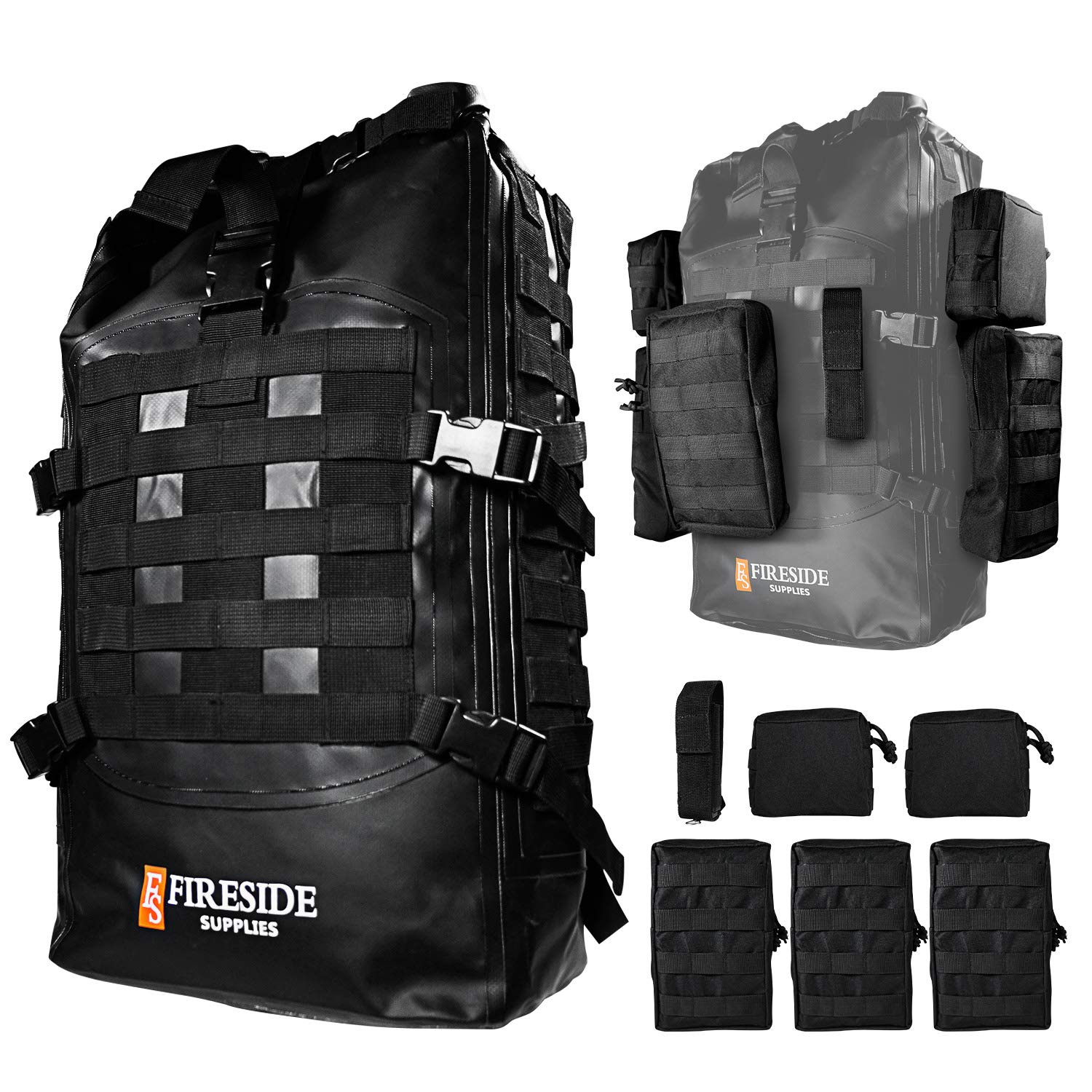 Molle 40L Dry Bag Backpack & 6 Pouches - Bone-Dry Military Grade Tactical Rucksack, Waterproof Rolltop Bug Out Bag & Heavy Duty 3-Day Assault Pack | ...
