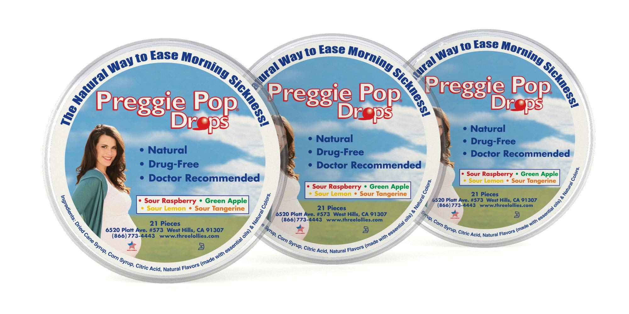 Preggie Pop Drops | Morning Sickness & Nausea Relief during pregnancy | Safe for pregnant Mom & Baby | Gluten Free | 4 Flavors: Lemon, Raspberry, Green Apple, Tangerine, 21 Count (Pack of 3)