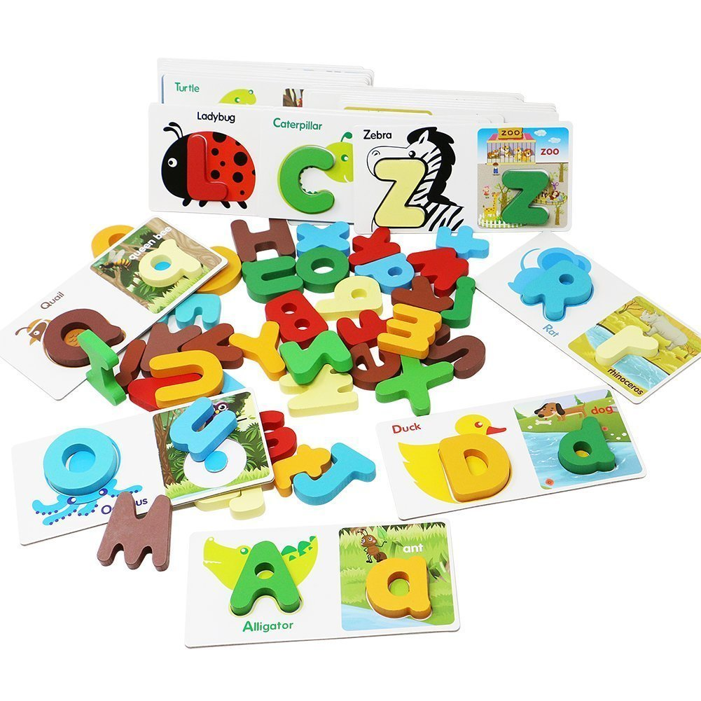 Lewo Wooden Puzzle Learning Toys ABC Letters Alphabet Puzzles Matching Card Games Kids 52 Pcs