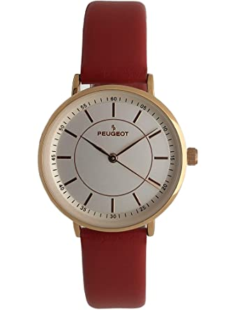 Amazon.com: Peugeot Womens Modern Super Slim Watch, Sleek 14K Rose Gold Plated Dress and Evening Watch with Leather Strap: Peugeot: Watches