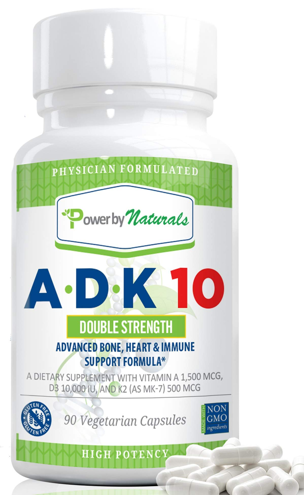 PbyN - ADK 10 Vitamin - Dr Formulated, Double Strength A D K 10000 iu - High Potency Vitamins A, D3 (10,000 iu), K2 (as MK-7) - Supplement for Bone, Heart, Immune Support, 90 Pills 3 Months, No Soy by Power By Naturals