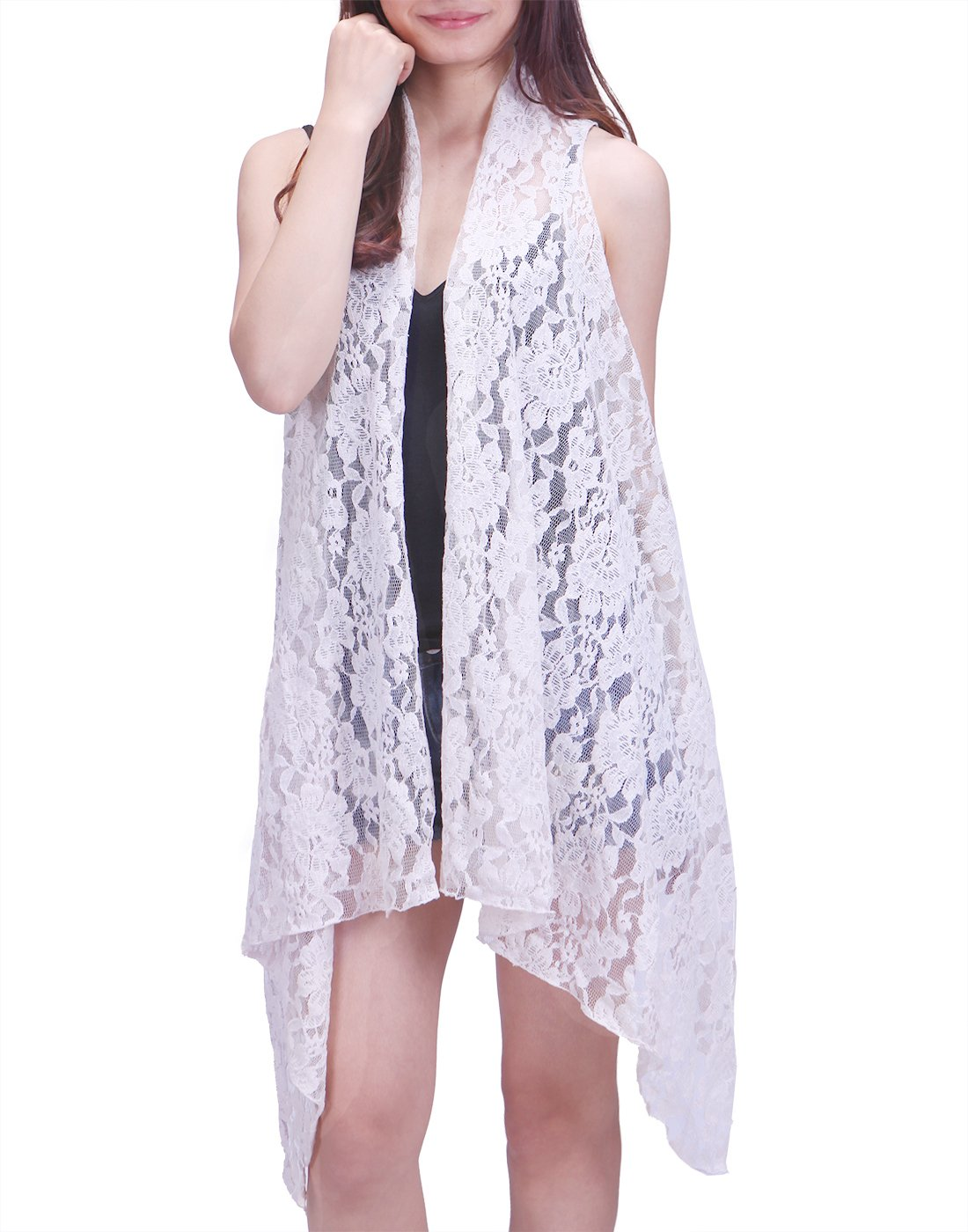 HDE Womens Open Front Lace Cardigan Sleeveless Asymmetric Drape Hem Vest Coverup