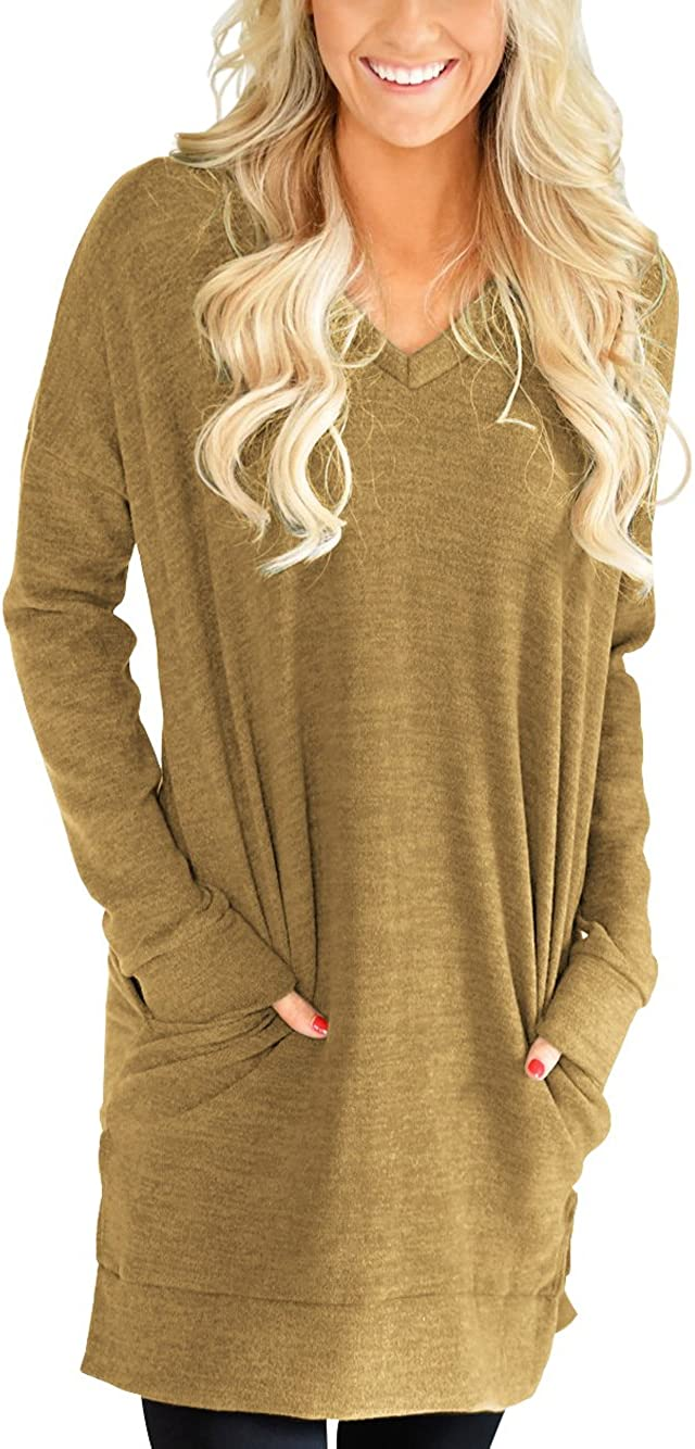 XUERRY Womens Casual V-NECK Long Sleeves Pocket Solid Color Sweatshirt Tunics Blouse Tops
