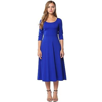 ACEVOG Women's 3/4 Sleeve A-Line Casual Flare Midi Long Dress