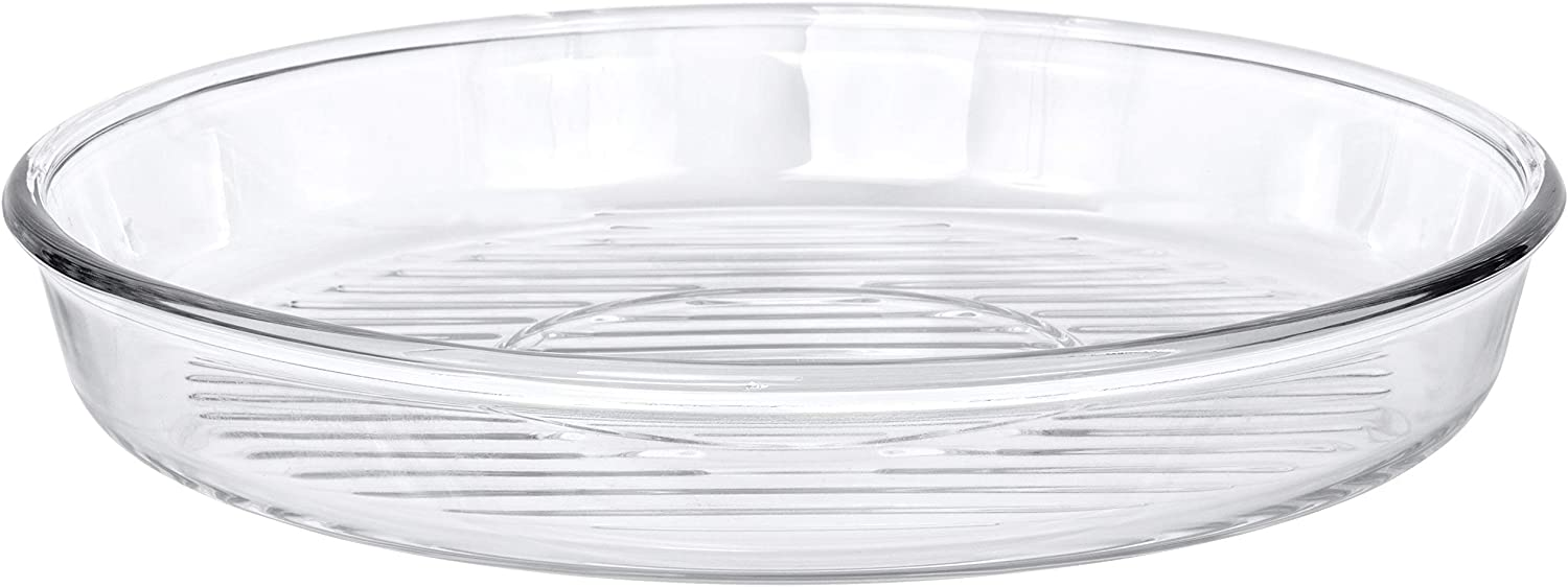 Red Co. Round Clear Glass Casserole Baking Dish Microwave Safe for Cake, Fish, Chicken, Potatoes - 12.5