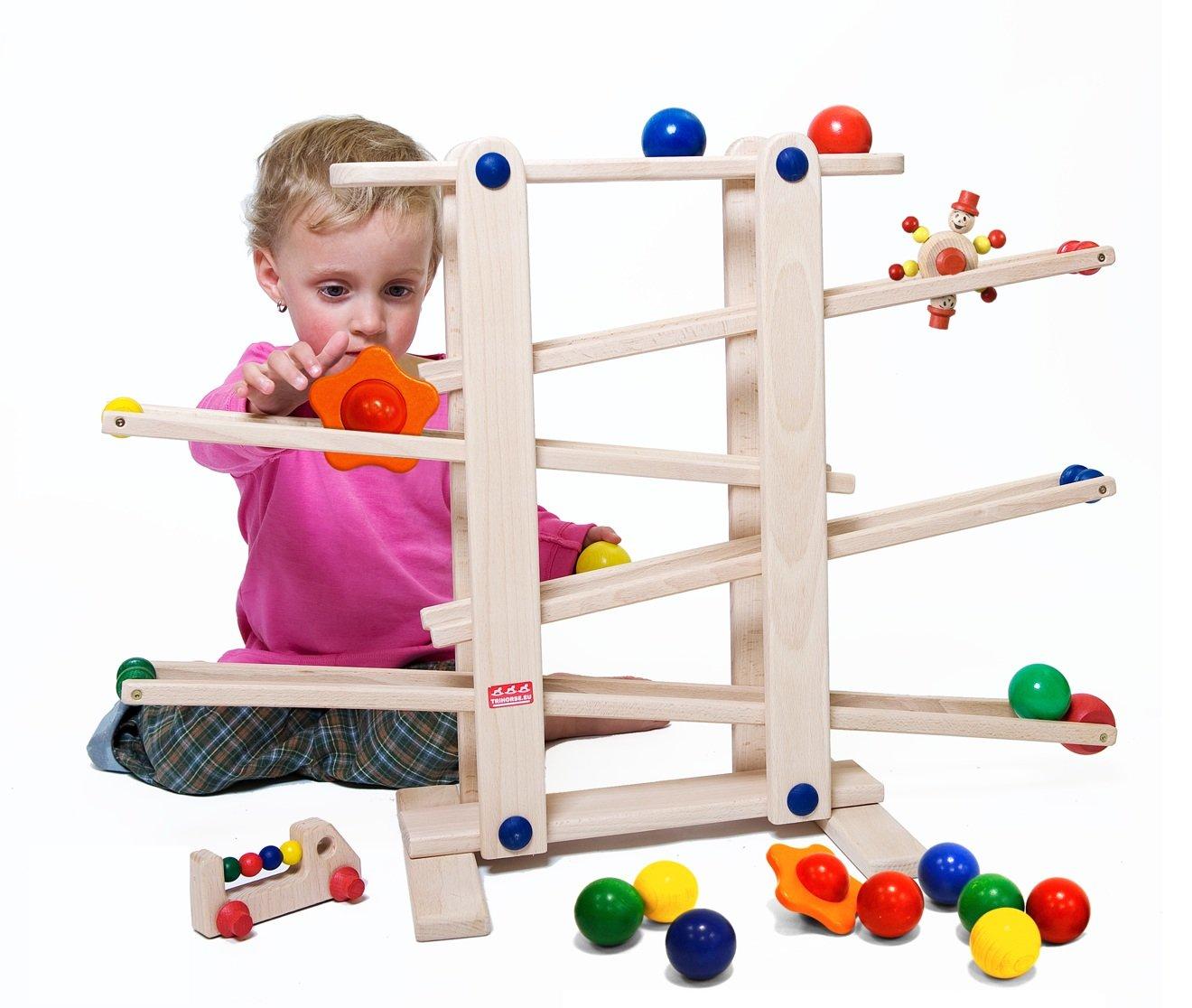 Trihorse circuit de billes en bois pour enfants à partir de 1 an, très stable, avec 6 pièces roulantes, fabriqué en UE. product image