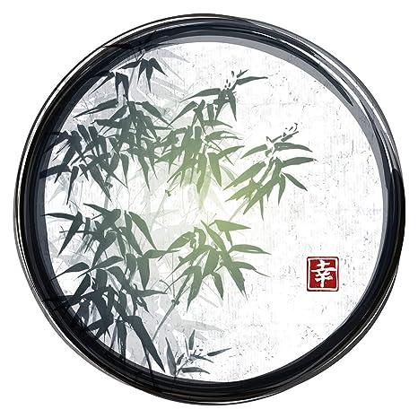 Pegatina de pared Salón Asia Círculo con borde y hojas de bambú Asia Deco para encolar