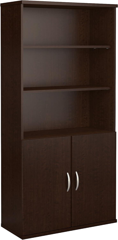 Bush Business Furniture Series C 36W 5 Shelf Bookcase with Doors in Mocha Cherry
