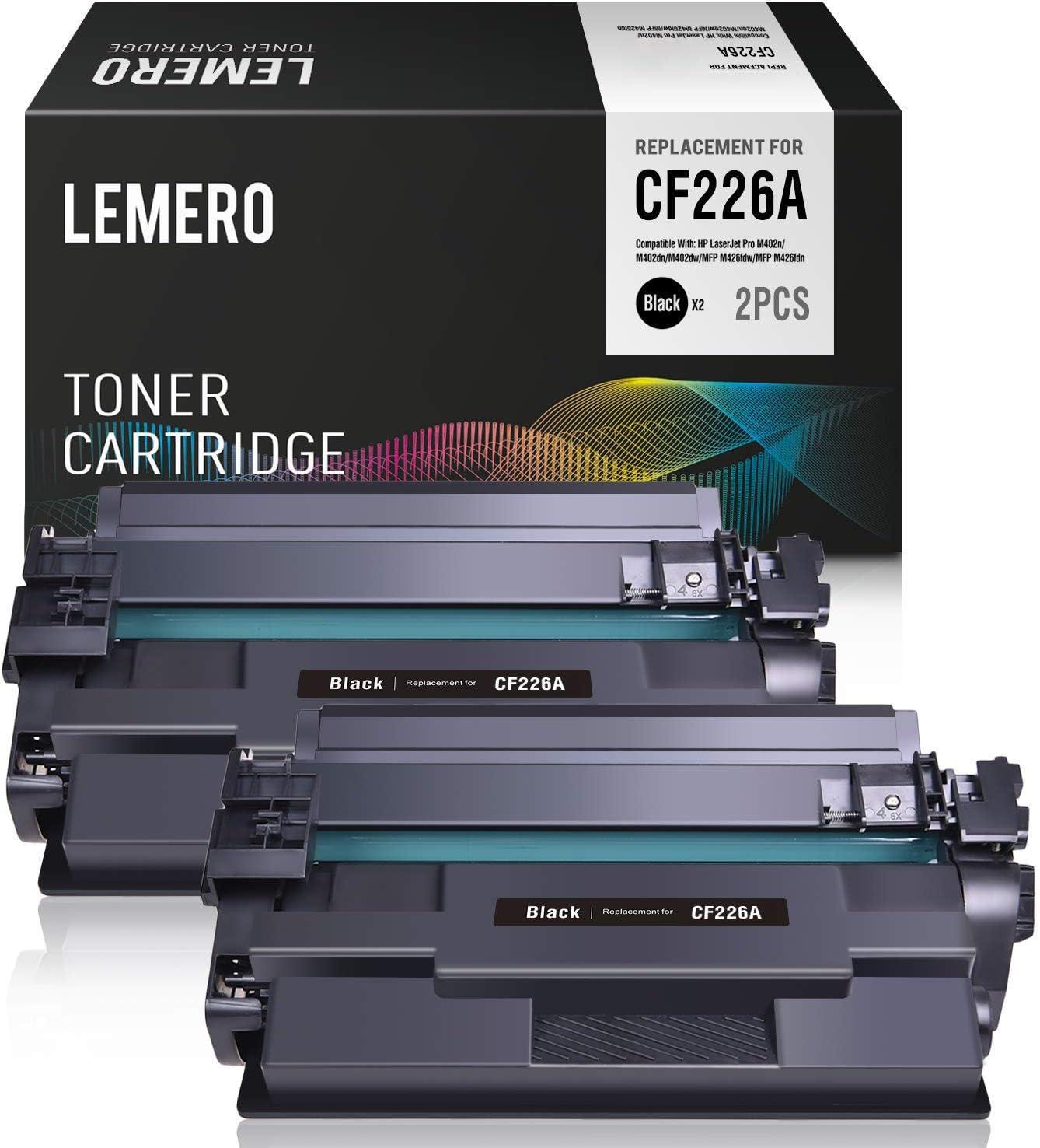 LEMERO Compatible Toner Cartridge Replacement for HP 26A CF226A for Laserjet Pro M402n M402dn M402dw Laserjet Pro MFP M426fdw MFP M426fdn Series Printer 2 Pack (Black)