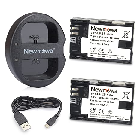 LP E6 LP E6N Newmowa Battery (2 Pack) and Dual USB Charger for Canon LP-E6,  LP-E6N and Canon EOS 5D Mark IV,EOS 5D Mark III,EOS 5D Mark II,EOS 6D,EOS
