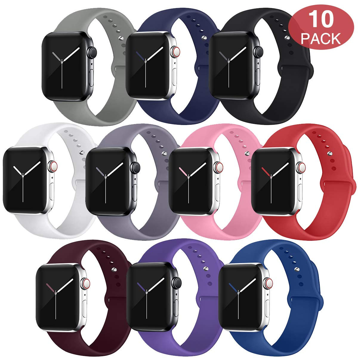 EXCHAR Sport Band Compatible with Apple Watch Band 40mm 38mm, Soft Silicone Strap, Replacement Wristband for iWatch Band Series 4, Series 3, 2, 1, Durable Colorful Design for Women, Men-10 Pack S/M by EXCHAR