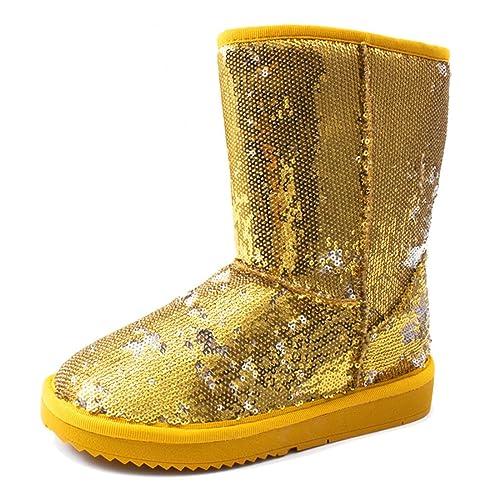 Damen Boots Glitzer 38 Pailletten Stiefel Nieten Gold sCthrQd