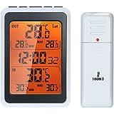 Romacci Termômetro interno externo sem fio Monitor digital de temperatura ambiente a até 328 pés de distância com luz de fund