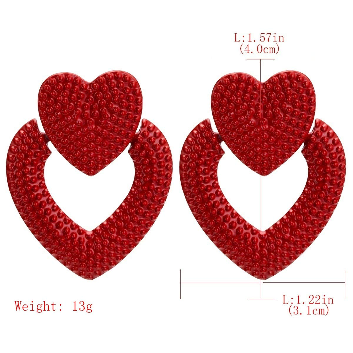 2019 YONYou Original Exaggerated Heart Love Bump Stud Earrings Particular Female European Fashion Retro Earrings