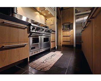 Küchenläufer Landhausstil Kitchen Holz-Optik für Ihre Küche | waschbar ,  rutschfest | Küchen Deko Teppich Größe 50 x 150 cm Braun