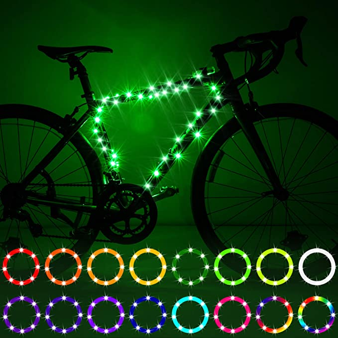 IGYLAR Rechargeable LED Bike Wheel Lights 2 Packs Bright Color Bicycle Spoke Lights Suitable Gift for Kids Friends and Family-Pink Adults