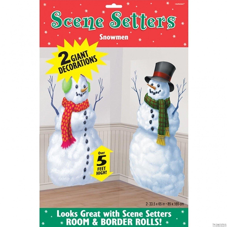 Christmas Snowmen Scene Setter Decorations x 2 Vinyl Scene Setter Wall Window Party Decoration Amscan