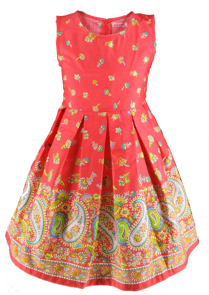 Buenocns Summer Dresses for Girls Sleeveless Cotton Round Neck Floral Printed Girls Dresses Red Paisley 314 8