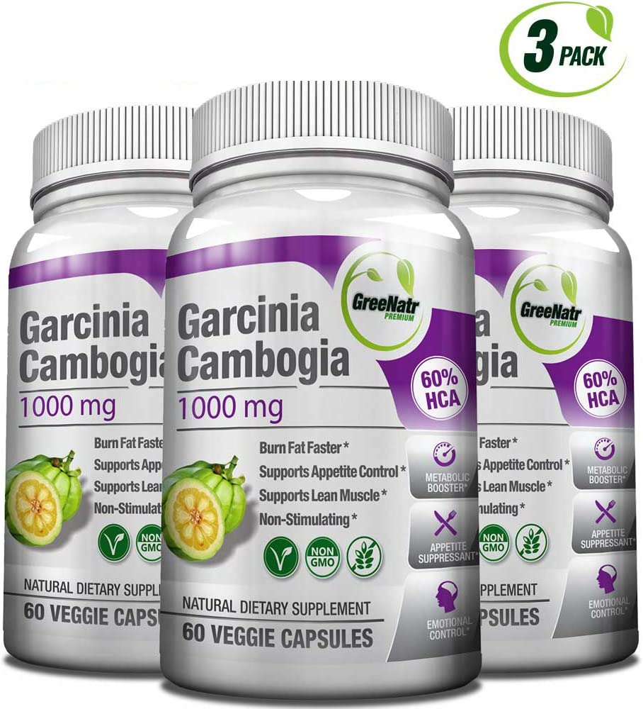 GreeNatr Garcinia Cambogia Extract 60 HCA 1000 mg – Natural Appetite Suppressant, Fat Burner and Weight Loss Supplement, 180 Veggie Capsules Pack of 3