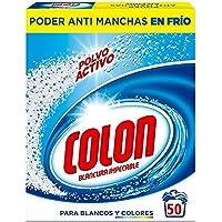 Colon Actief poeder voor wasmachine, geschikt voor wit en gekleurd wasgoed, poederformaat, 50 blikjes