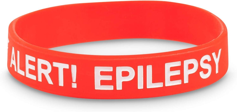 Medicaband/® paquete de 3 Pulsera de silicona con alerta m/édica de epilepsia y convulsi/ón epil/éptica