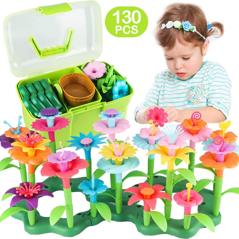 CENOVE Girls Toys for 3 4 5 6 Year Olds Girls Gifts Flower Garden Building Toy Set Stem Toys Build a Bouquet Floral Arrangement Playset Educational Toddler Toys(130 PCS)