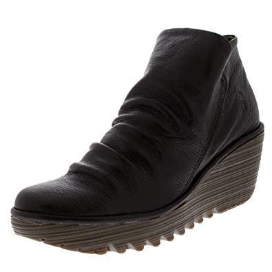 Womens Yip Wedge Mousse Platform Leather Ankle Boot Mid Heel