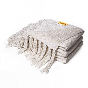 DOZZZ Fluffy Chenille Knitted Throw Blanket with Decorative Fringe for Home Décor Bed Sofa Couch Chair Ivory