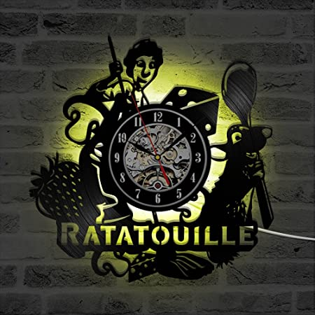 Ratatouille LED Reloj de Pared Control Remoto Silencio ...