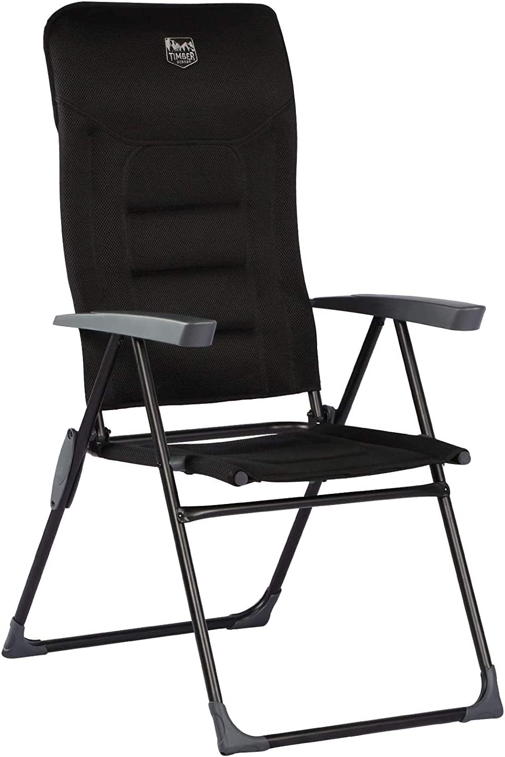 TIMBER RIDGE Padded Reclining Folding Camping Chair High Back Lightweight Aluminum 7-Position Adjustable Backrest Black