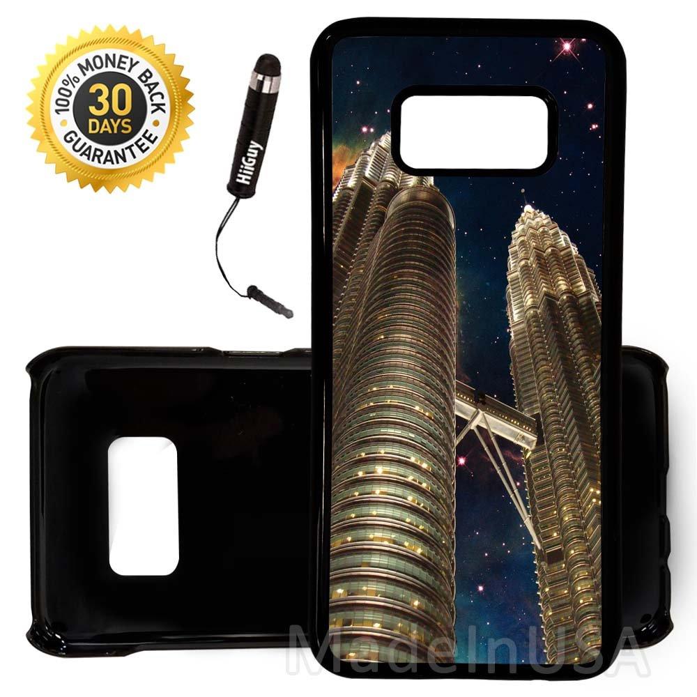 Custom Galaxy Note 8 Case (Petronas Towers Malaysia Nebula) Edge-to-Edge Plastic Black Cover Ultra Slim | Lightweight | Includes Free Mini Stylus Pen by Innosub