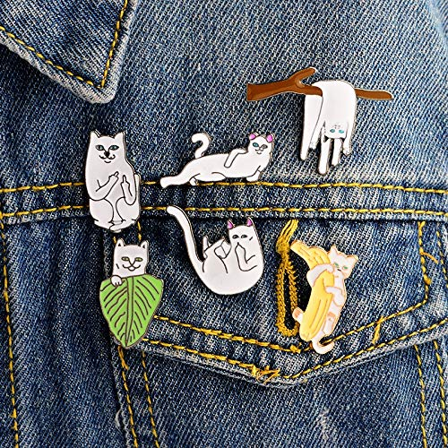 Lessonmart 6PCS/Set Funny Cat Middle Finger cat Enamel pins Hard Enamel Lapel pins Badges Brooches Cat pins Backpack Hats Accessories (Games Like Pin The Tail On The Donkey)