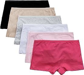 b136355fc74 PANMANNI Women s Underwear 6 Pack Boxer Brief Plain Boy Short Assorted  Colors - M Size