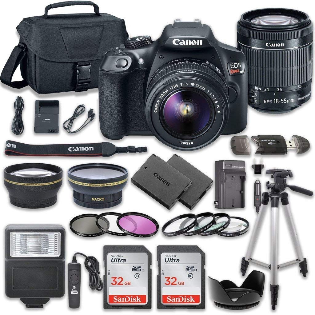 Canon EOS Rebel T6 DSLR Camera Bundle with Canon EF-S 18-55mm f/3 5-5 6 IS  II Lens + 2pc SanDisk 32GB Memory Cards + Accessory Kit