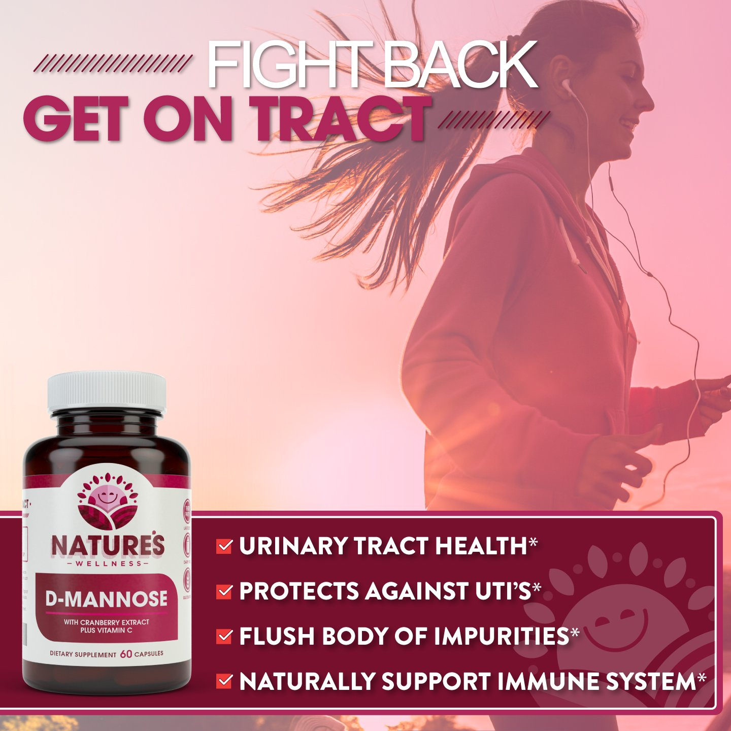 D-MANNOSE with Cranberry Extract Plus Vitamin C | Urinary Tract Health -  UTI Protection - Flush