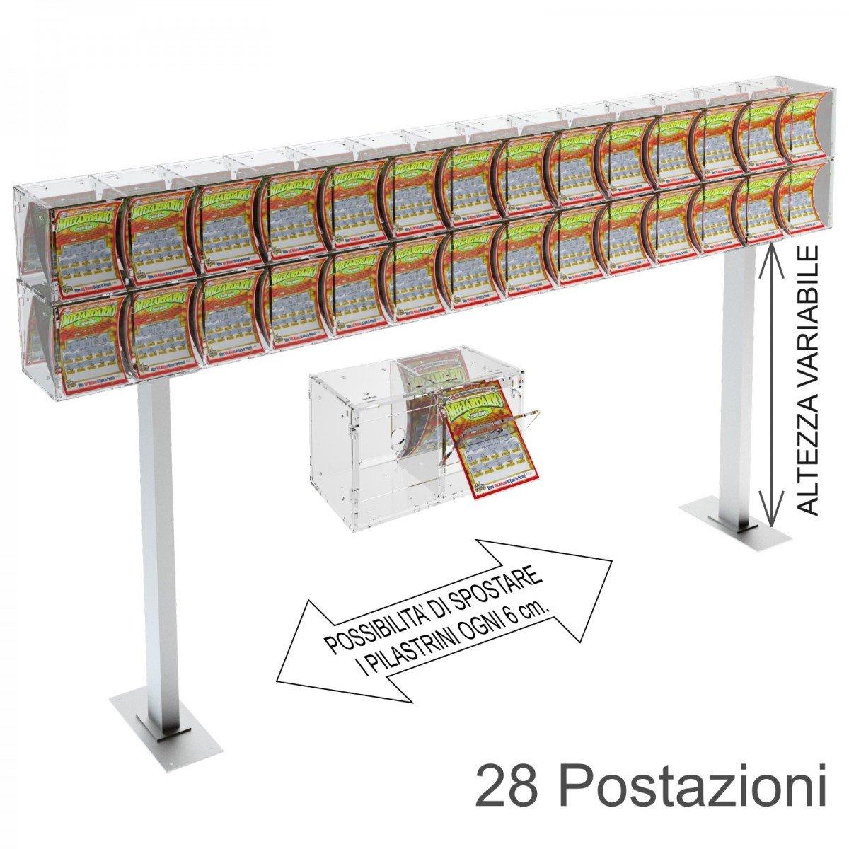 Espositore gratta e vinci da banco in plexiglass trasparente a 28 contenitori munito di sportellino frontale lato rivenditore