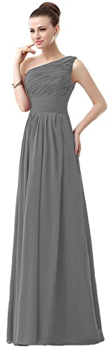 VaniaDress Women One Shoulder Chiffon Long Bridesmaid Dress Prom Gonws V006LF