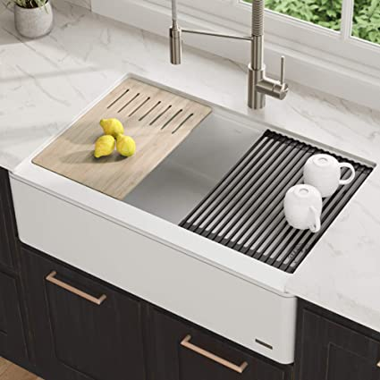 """KRAUS 33"""" Bellucci Apron Workstation Kitchen Sink Farmhouse Single Bowl  with Cutting Board in White"""