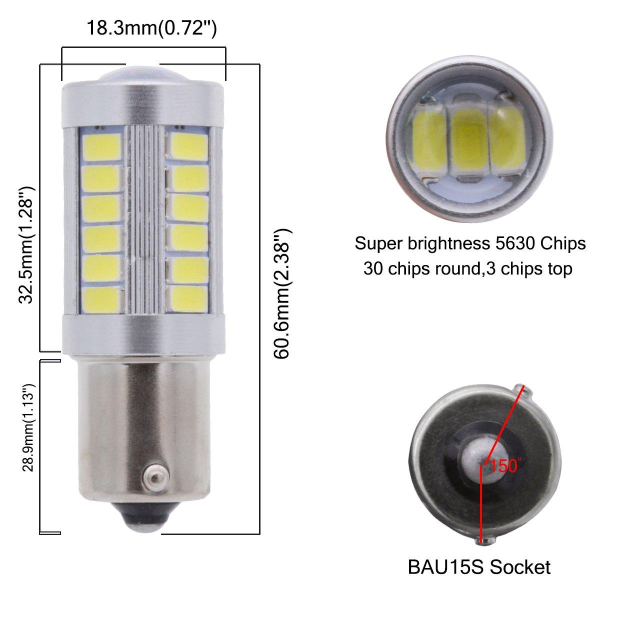 Tuincyn BAU15S, PY21W, 1056, 12496, 5009, 7507, 7507AST Bombillas LED 5630 33SMD, bianca,luz brillante de freno, señales de giro, bombilla de luz de ...