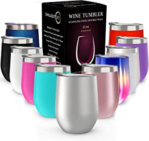 CHILLOUT LIFE 12 oz Stainless Steel Tumbler with Lid & Gift Box | Wine Tumbler Double Wall Vacuum Insulated Travel Tumbler Cup for Coffee, Wine, Cocktails, Ice Cream | Sweat Free, BPA Free