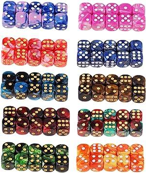 IPOTCH 100x Juego de Mesa D6 Dados de Seis Caras Color Mezclado Juguete Divertido para Fiesta: Amazon.es: Juguetes y juegos