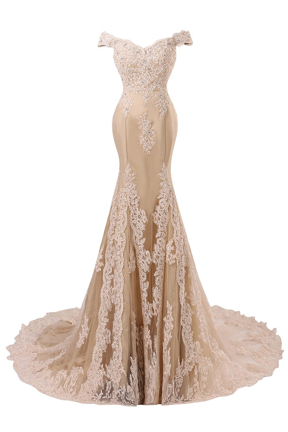 Himoda Women's V Neckline Beaded Evening Gowns Mermaid Lace Prom Dresses Long H074 8 Champagne